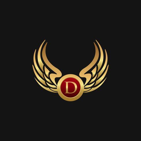 Plantilla de concepto de diseño de logotipo de lujo letra D emblema alas