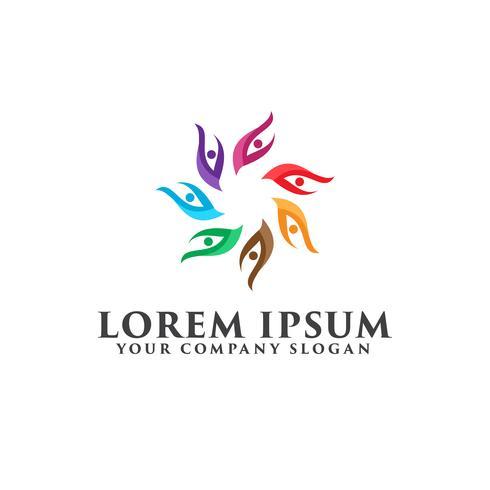 people leaf logo. partner logo design concept template vector