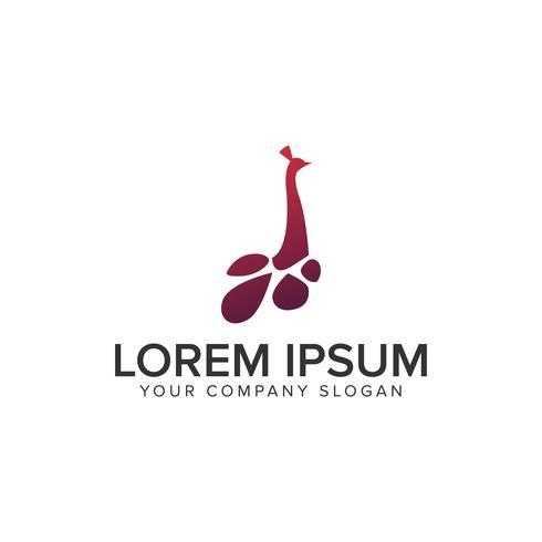 modello di concetto di design Logo testa di pavone