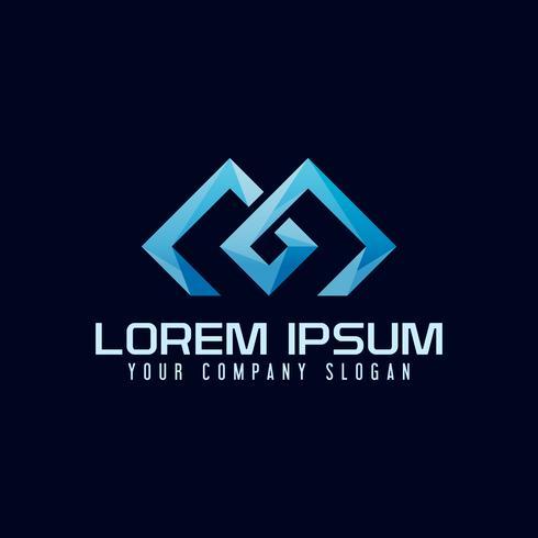 Modello di concetto di disegno di lettera M moderna logo.