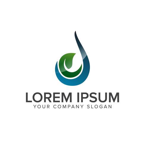 Modèle de concept de conception Green Drop Logo