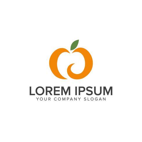 Orange fruit logo design concept template