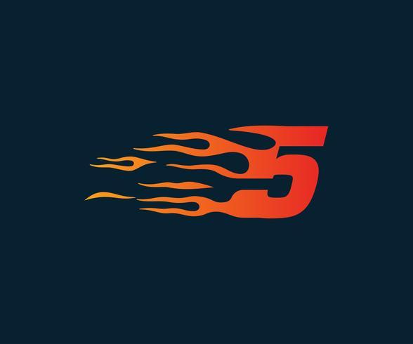 Nummer 5 brandflamma Logo. Speed Race Design Concept mall