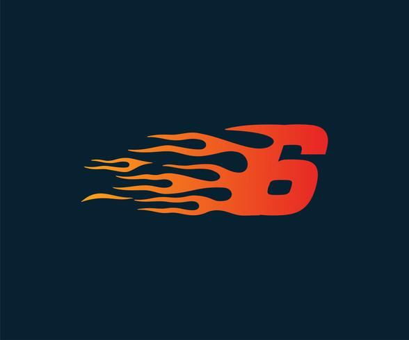 Number 6 fire flame Logo. speed race design concept template