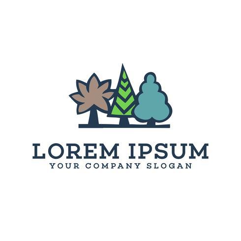 Plantilla de concepto de diseño de logotipo de paisajismo de árbol
