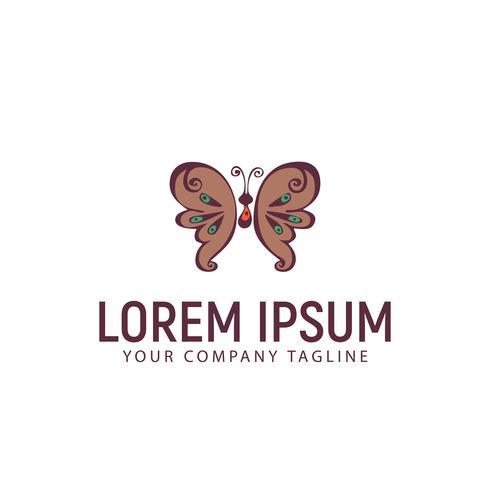 Plantilla de concepto de diseño de logotipo dibujado a mano mariposa
