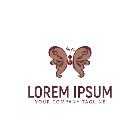 vlinder hand getrokken logo ontwerpsjabloon concept