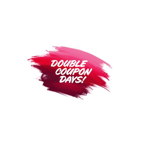 Hand-written lettering brush phrase Double Coupon Days with wate