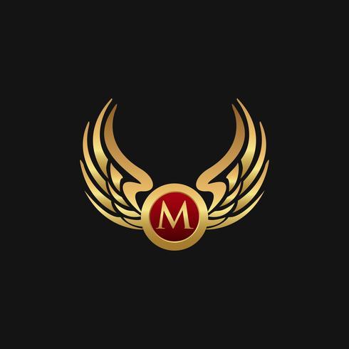Lyx brev M Emblem Wings logo design koncept mall