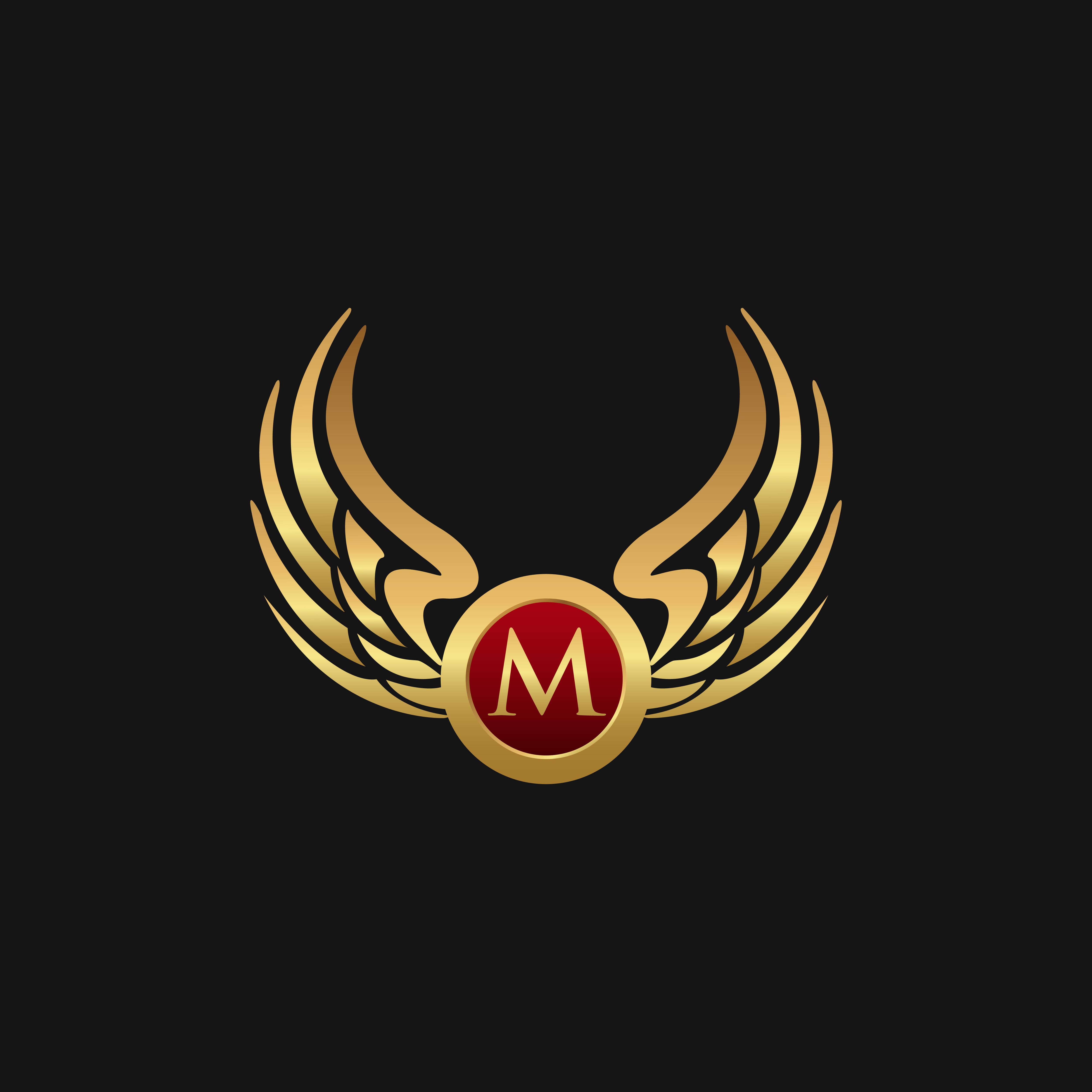 Luxury Letter M Emblem Wings Logo Design Concept Template
