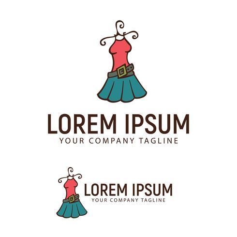 modello di concetto di design logo disegnato a mano vestiti di donna