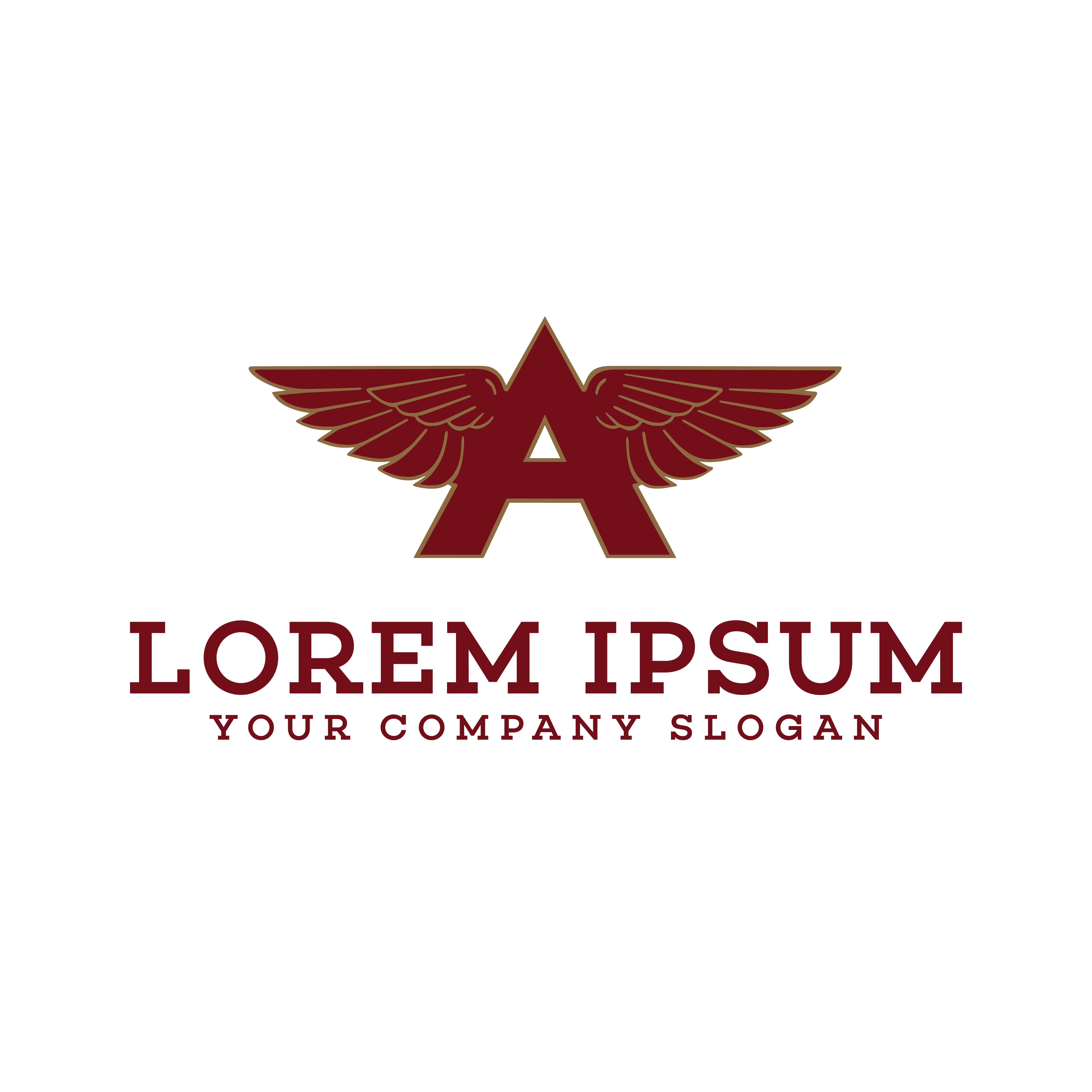 Modern Letter K Logo Concept:  Letter A Wings Logo Design Concept Template