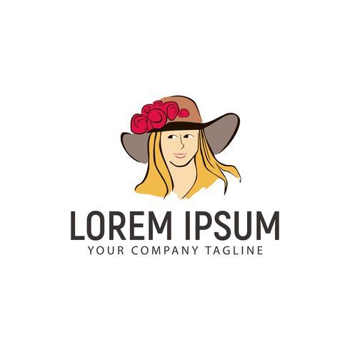 Mujeres dibujadas a mano de belleza con plantilla de concepto de diseño de logotipo de sombrero de vaquero