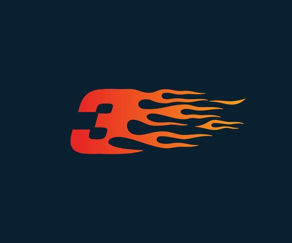 Número 3 fogo chama logotipo. modelo de conceito de design de corrida de velocidade