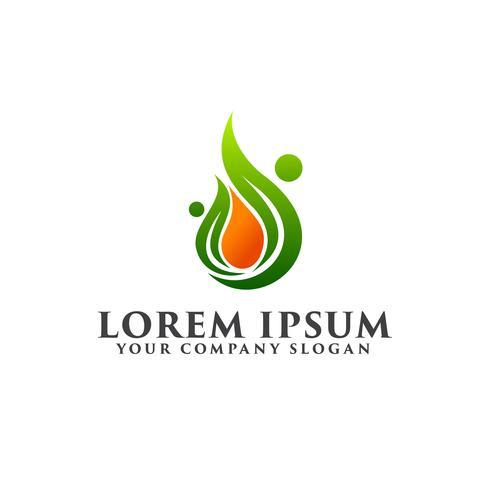folk energi droppe blad logo design koncept mall