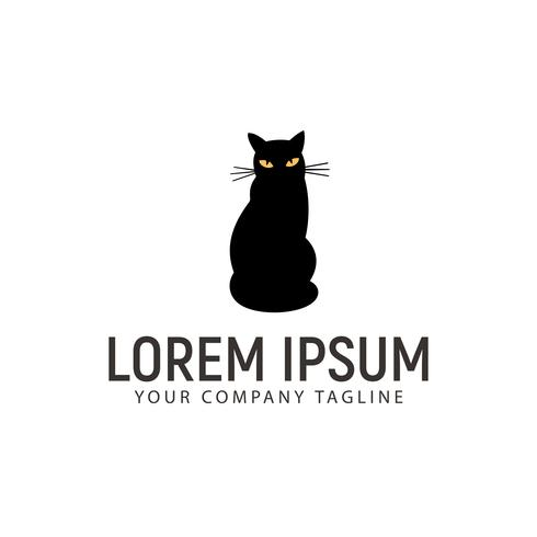 Logo-Designkonzeptschablone der schwarzen Katze