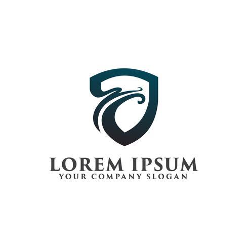 säkerhet drake logo design koncept mall