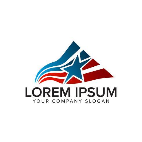 modelo de conceito de design de logotipo de estrela de bandeira de América