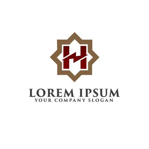 Letter H monogram logo design concept template