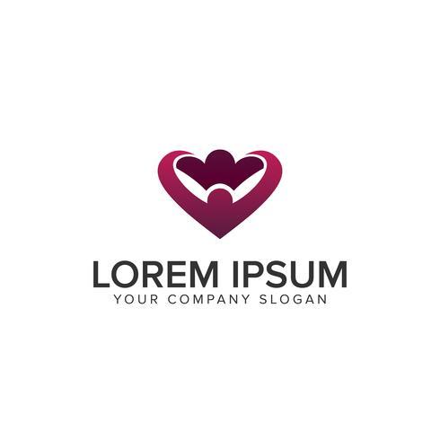 couple people love heart Logo design concept template