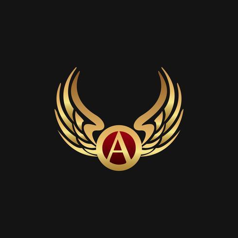 Lettre de luxe un modèle de concept de conception de logo Ailes emblème