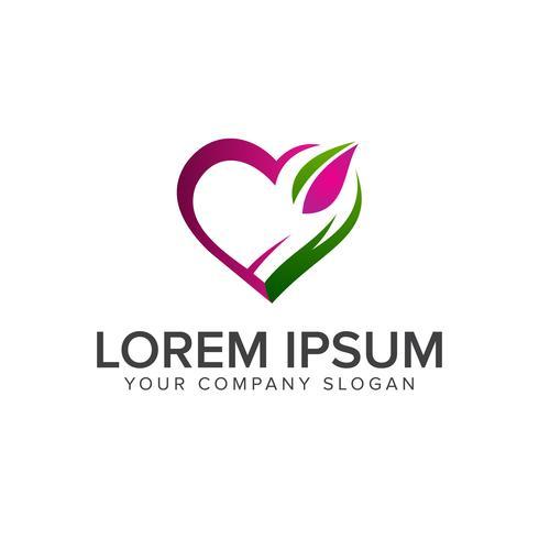modèle de concept de conception amour logo vert