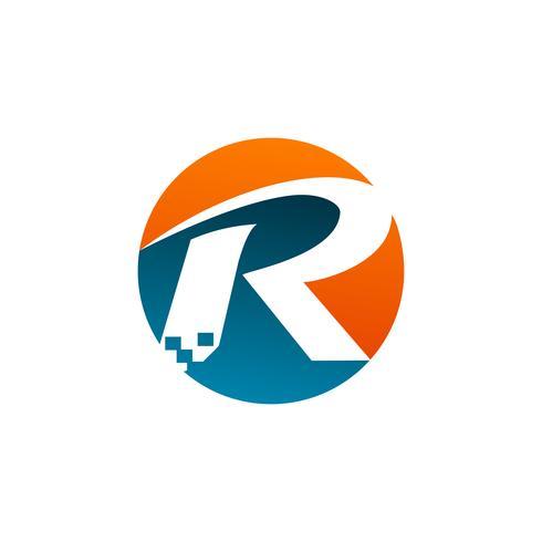 lettera R logo. Modello di concetto di tecnologia logo design vettore