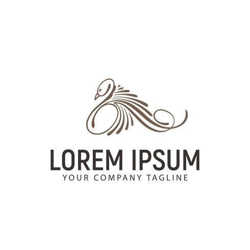 Modelo de conceito de design de logotipo de arte de linha cisne de luxo