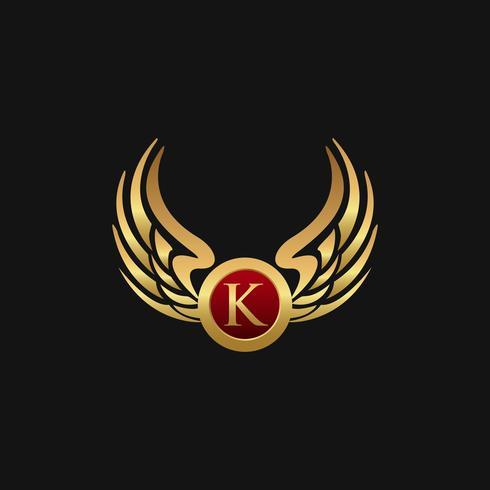 Plantilla de concepto de diseño de logotipo de lujo letra K emblema alas