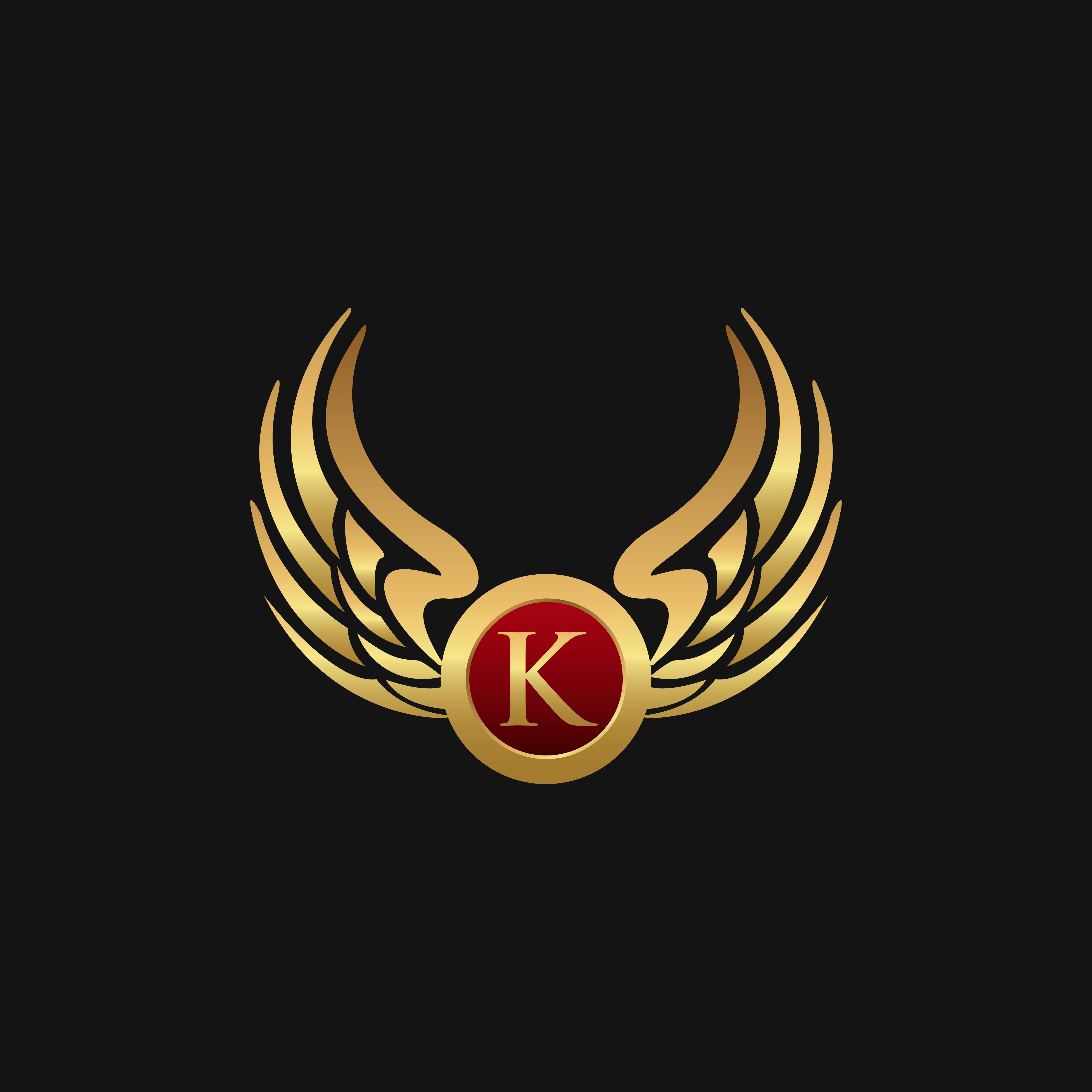 Luxury Letter K Emblem Wings Logo Design Concept Template