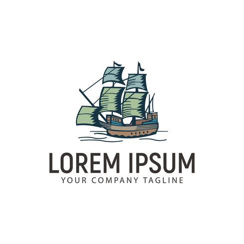 Plantilla de concepto de diseño de logotipo retro vintage marino de barco vector
