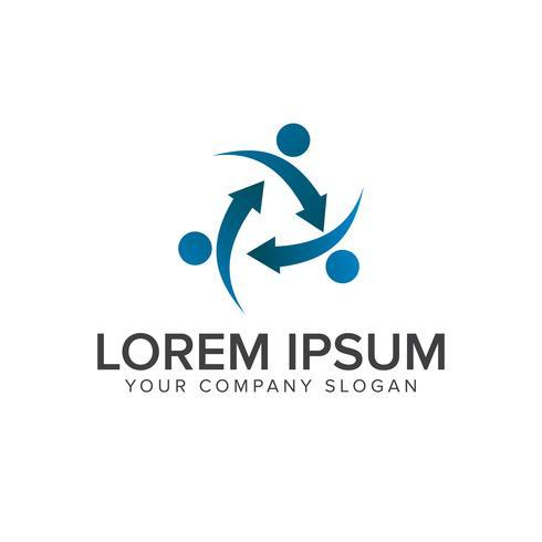 people arrow logo design concept template