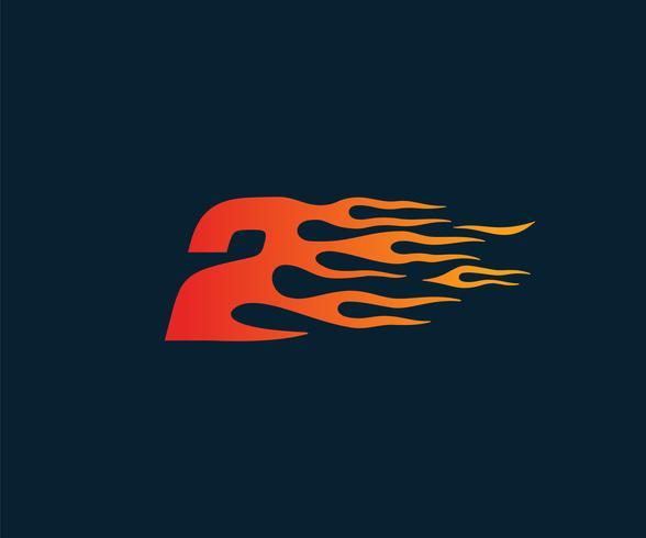 Número 2 logotipo de llama de fuego. Plantilla de concepto de diseño de carrera de velocidad vector