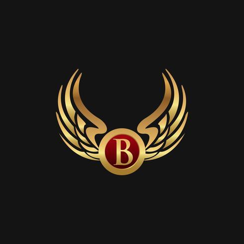 Modèle de concept de design logo luxe lettre B ailes Wings