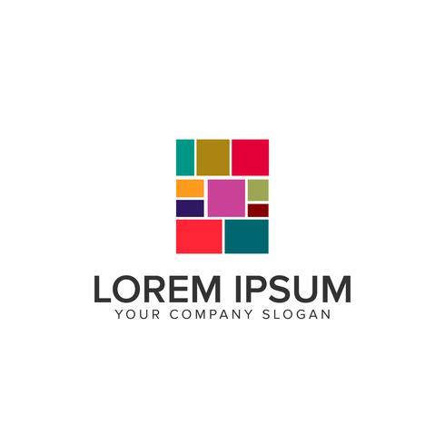 media multicolore quadrato Modello di concetto di design del logo vettore