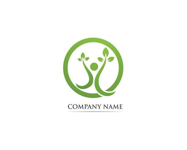 Hoja verde personas identidad tarjeta vector logo