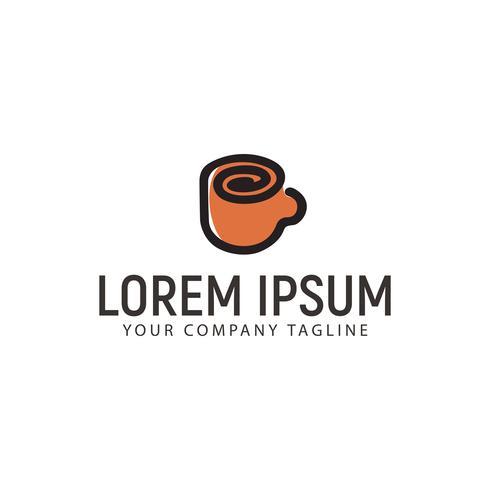 Taza de café con logo. Plantilla de concepto de diseño dibujado mano minimalista vector