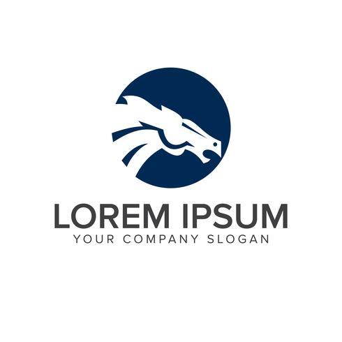 modèle de concept de logo tête de cheval vecteur