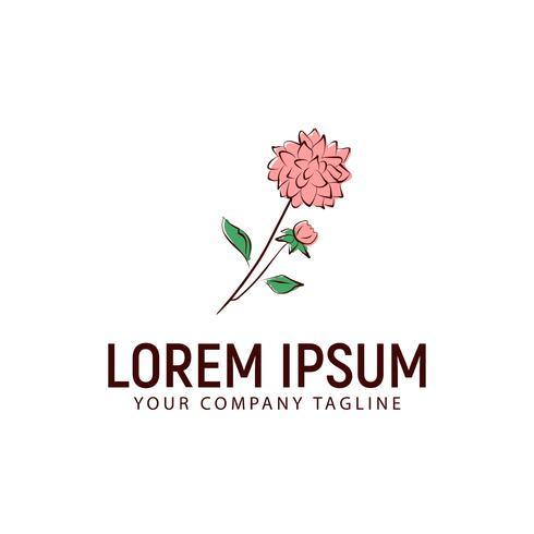 blomma logotyp handgjord stil design koncept mall vektor