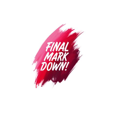 Handgeschriebene Schriftpinselphrase Final Mark Down mit waterco