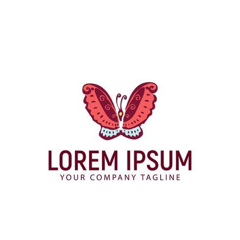 modello di concetto di disegno logo disegnato a mano farfalla