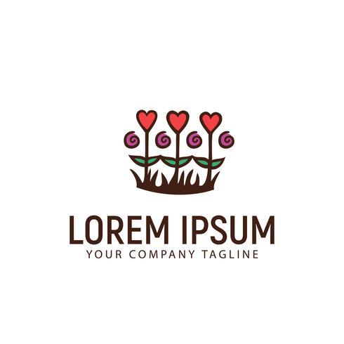 Liebe Garten Logo-Design-Konzept-Vorlage