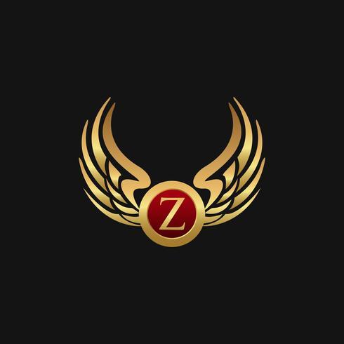 Modèle de concept de design logo luxe lettre Z ailes Wings vecteur