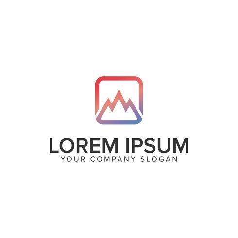Plantilla de concepto de diseño de logotipo de montaña minimalista