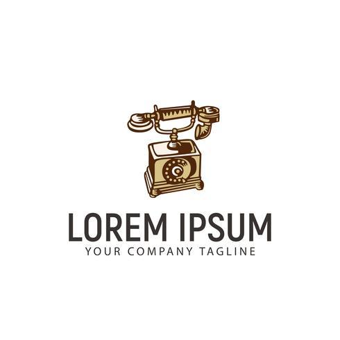 classic phone retro hand drawn logo design concept template