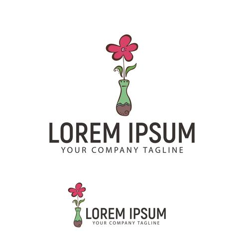 flower and vase hand drawn Logo design concept template
