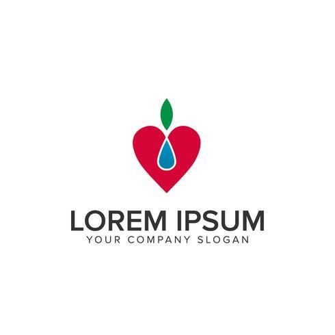amour nature fruit modèle de concept de logo design