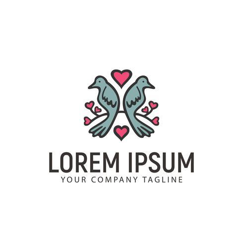 couple dove hand drawn logo design concept template
