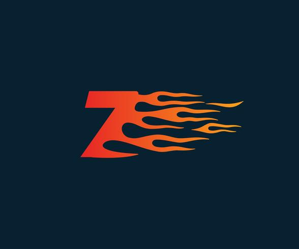 Number7 fire flame Logo. speed race design concept template