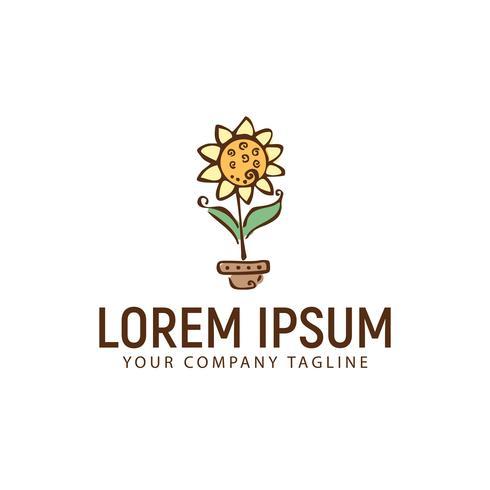 Plantilla de concepto de diseño de logotipo de flor de sol dibujado a mano